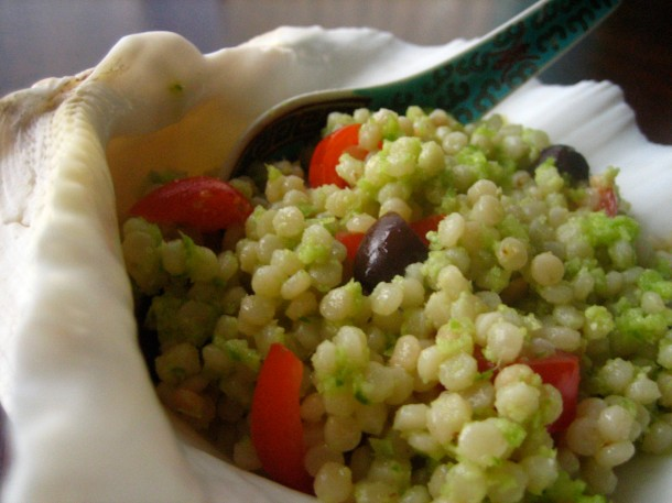 Israeli couscous with garlic scape pesto.