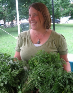 Gayle Roberts glows at Green City Farmers Market in Lincoln Park.