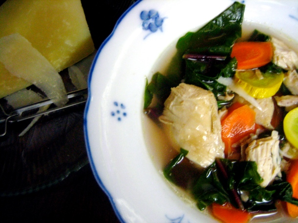 Italian Chicken Soup With Parmigiano Cheese