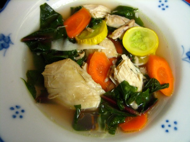 Italian Chicken Soup with Beet Greens,Carrots, and Yellow Squash