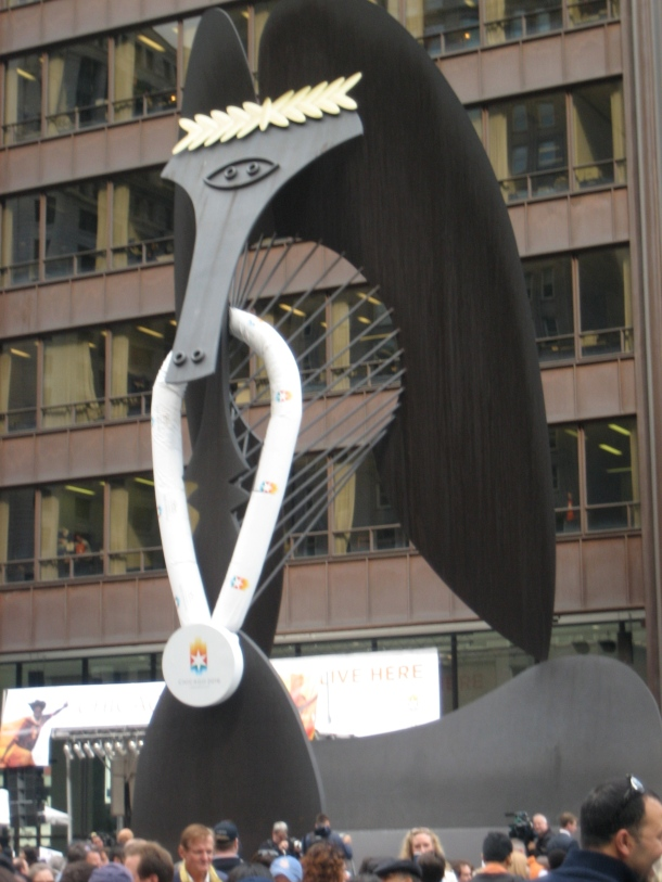 Picasso Sculpture in Daley Plaza with Olympic Laurel and Metal