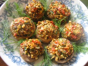 Stuffed Mushroom Appetizer And Pickled Peppadews