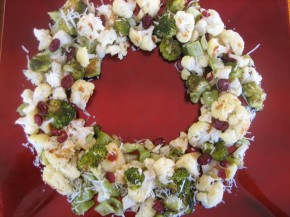 Roasted Broccoli Cauliflower Wreath Of Wealth