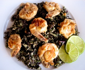 Ganesha & Almond Lime Shrimp And Kale