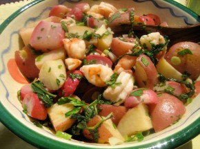 Roasted Radish And Shrimp Medley